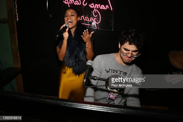 Actors Ariana Debose and Darren Criss attend the 1st Annual Musical Theater Album GRAMMY Party at Tramp Stamp Granny's on January 26 2020 in Los...
