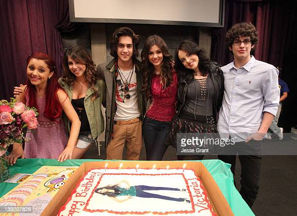Actors Ariana Grande Daniella Monet Avan Jogia Victoria Justice Elizabeth Gillies and Matt Bennett attend a surprise birthday celebration for...