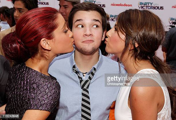 Actors Ariana Grande Nathan Kress and Daniella Monet arrive at Nickelodeon's exclusive premiere for the upcoming primetime TV event of the summer...