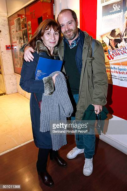 Actors Ariane Ascaride and Arthur Nauzyciel attend the Tribute to Francoise Fabian held at 'Mac Mahon Cinema' on December 10 2015 in Paris France