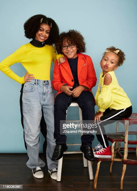 Actors Arica Himmel Ethan Childress and MykalMichelle Harris of ABC's 'Mixedish' pose for a portrait during the 2019 Summer TCA Portrait Studio at...
