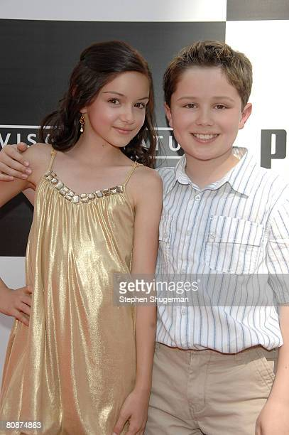 Actors Ariel Winter and Nicholas Elia attend the premiere of 'Speed Racer' at the Nokia Theatre on April 26 2008 in Los Angeles California