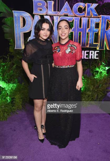 Actors Ariela Barer and Allegra Acosta at the Los Angeles World Premiere of Marvel Studios' BLACK PANTHER at Dolby Theatre on January 29 2018 in...