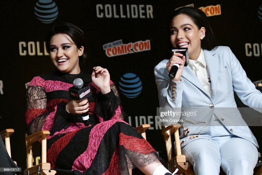 Actors Ariela Barer (L) and Allegra Acosta participate in Hulu's Runaways panel at New York Comic Con at Jacob Javits Center on October 6, 2017 in New York City.