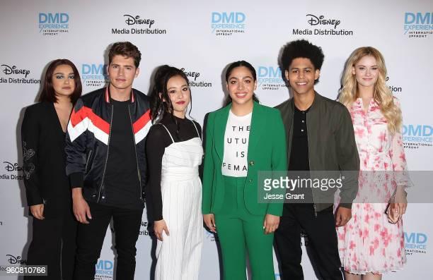 Actors Ariela Barer Gregg Sulkin Lyrica Okano Allegra Acosta Rhenzy Feliz and Virginia Gardner attend the Disney/ABC International Upfronts at the...