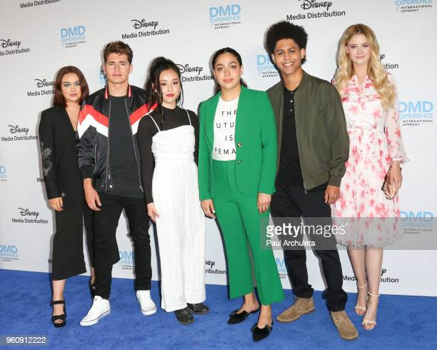 Actors Ariela Barer Gregg Sulkin Lyrica Okano Allegra Acosta Rhenzy Feliz and Virginia Gardner attend the Disney/ABC International Upfronts at the...