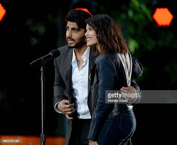 Actors Arjun Kapoor and Freida Pinto present onstage at the 2015 Global Citizen Festival to end extreme poverty by 2030 in Central Park on September...