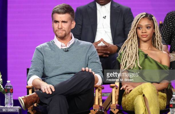 Actors Armando Riesco and Tiffany Boone of the television show The CHI speak onstage during the CBS/Showtime portion of the 2018 Winter Television...