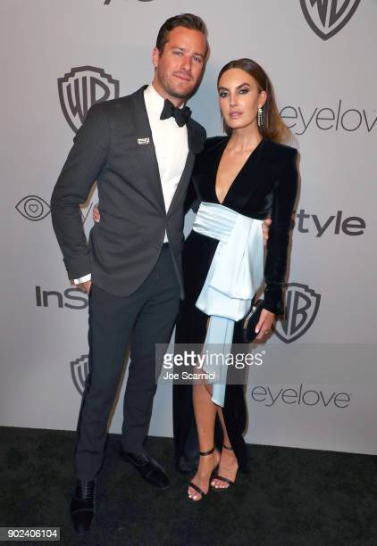 Actors Armie Hammer and Elizabeth Chambers attend the 2018 InStyle and Warner Bros 75th Annual Golden Globe Awards PostParty at The Beverly Hilton...