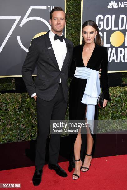 Actors Armie Hammer and Elizabeth Chambers attend The 75th Annual Golden Globe Awards at The Beverly Hilton Hotel on January 7 2018 in Beverly Hills...