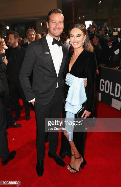 Actors Armie Hammer and Elizabeth Chambers celebrates The 75th Annual Golden Globe Awards with Moet Chandon at The Beverly Hilton Hotel on January 7...