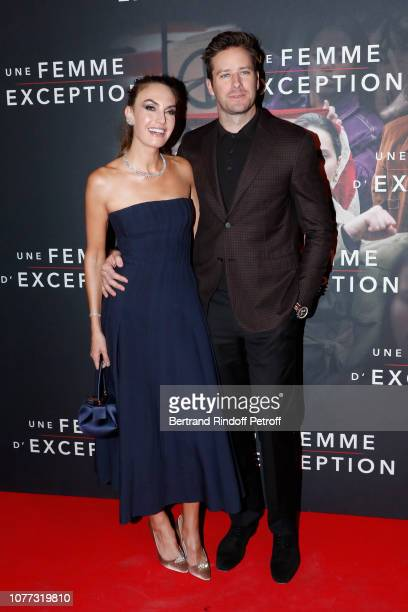Actors Armie Hammer and his wife Elizabeth Chambers attend the Une Femme d'Exception On the Basis of Sex Paris Premiere at Cinema Gaumont Capucine on...