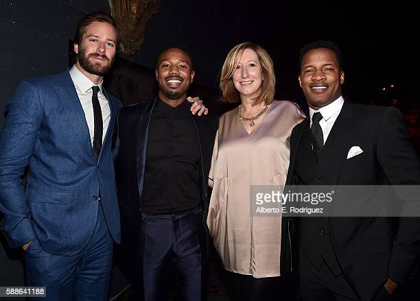 Actors Armie Hammer and Michael B Jordan Keri Putnam Executive Director at Sundance Institute and Vanguard Award recipient Nate Parker attend the...