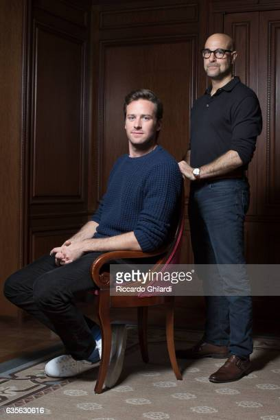 Actors Armie Hammer and Stanley Tucci are photographed for Self Assignment on February 11 2017 in Berlin Germany