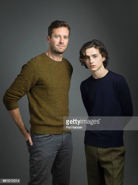 Actors Armie Hammer and Timothee Chalamet are photographed for the Observer on October 9 2017 in London England