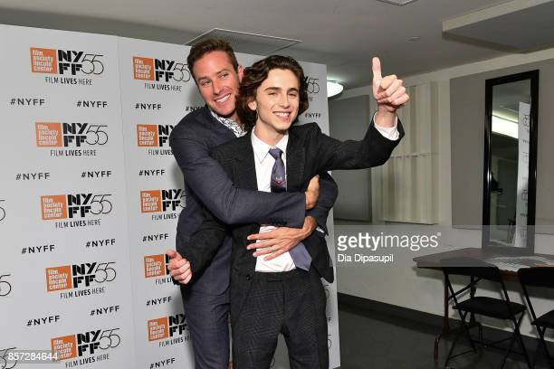 Actors Armie Hammer and Timothee Chalamet attend a screening of 'Call Me by Your Name' during the 55th New York Film Festival at Alice Tully Hall on...