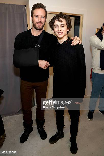 Actors Armie Hammer and Timothee Chalamet attend ATT At The Lift during the 2017 Sundance Film Festival on January 22 2017 in Park City Utah