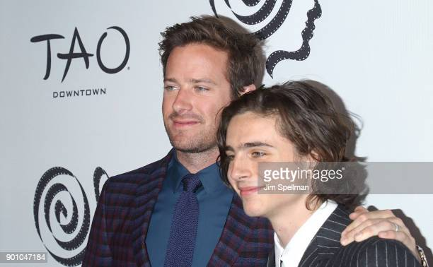 Actors Armie Hammer and Timothee Chalamet attend the 2017 New York Film Critics Awards at TAO Downtown on January 3 2018 in New York City
