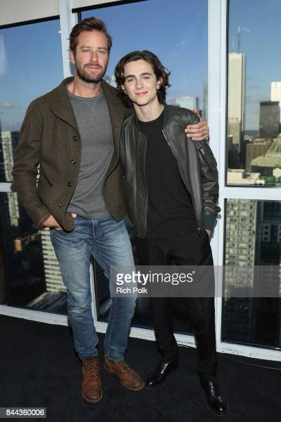 Actors Armie Hammer and Timothee Chalamet of 'Call Me By Your Name' attend The IMDb Studio Hosted By The Visa Infinite Lounge at The 2017 Toronto...