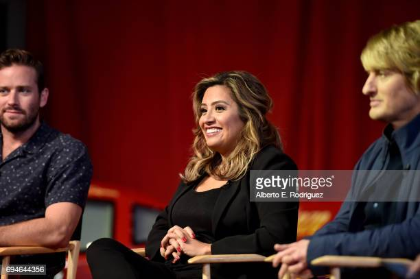 Actors Armie Hammer Cristela Alonzo and Owen Wilson speak at the 'Cars 3' Press Conference at Anaheim Convention Center on June 10 2017 in Anaheim...
