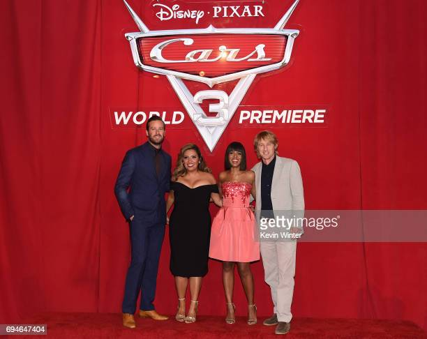 Actors Armie Hammer Cristela Alonzo Kerry Washington and Owen Wilson attend the premiere of Disney and Pixar's 'Cars 3' at Anaheim Convention Center...