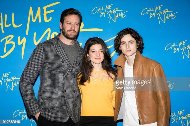 Actors Armie Hammer Esther Garrel and Timothee Chalamet attend the 'Call me by your name' Premiere at UGC Cine Cite des Halles on January 26 2018 in...