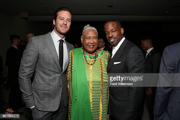 Actors Armie Hammer Esther Scott and Writer/Director/Actor Chiké Okonkwo attend Fox Searchlight's The Birth of a Nation special presentation during...