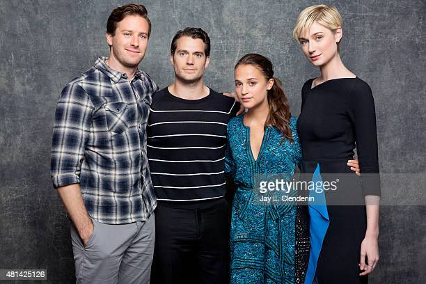 Actors Armie Hammer Henry Cavill Alicia Vikander and Elizabeth Debicki of Man from UNCLE pose for a portrait at ComicCon International 2015 for Los...