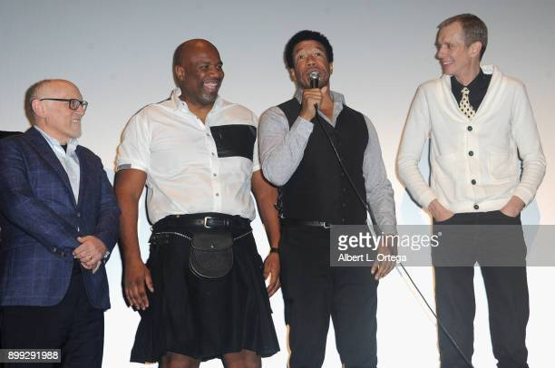Actors Armin Shimerman Darnell Davis Rico E Anderson and Doug Jones participate in the QA at the Cast And Crew Screening Of 5th Passenger held at TCL...