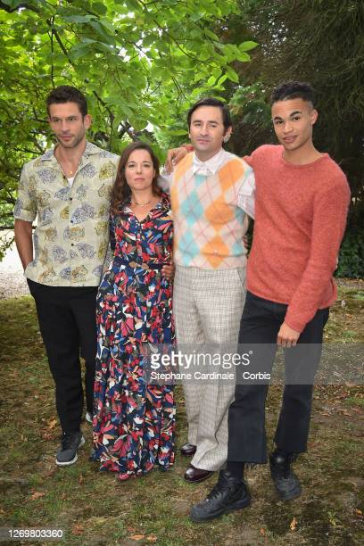 "Actors Arnaud Valois, Laure Calamy, director Nicolas Maury and actor Theo Christine attend the ""Garcon Chiffon"" Photocall at 13th Angouleme..."