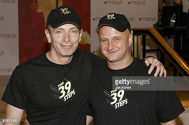 Actors Arnie Burton and Cliff Saunders attend Macy's Sing For Your Tickets Tony Awards talent competition on June 13 2008 at Macy's Herald Square in...
