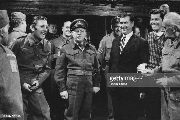 Actors Arnold Ridley James Beck Arthur Lowe John Le Mesurier Bill Pertwee and John Laurie in a scene from the episode 'Absent Friends' of the...