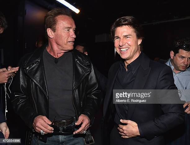 Actors Arnold Schwarzenegger and Tom Cruise attend The State of the Industry Past Present and Future and Paramount Pictures Presentation at The...