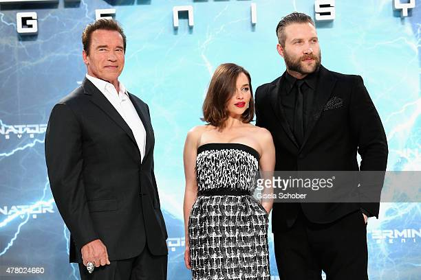 Actors Arnold Schwarzenegger Emilia Clarke and Jai Courtney attend the European Premiere of 'Terminator Genisys' at the CineStar Sony Center on June...