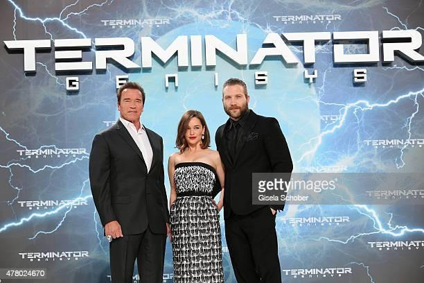 Actors Arnold Schwarzenegger Emilia Clarke and Jai Courtney attend the European Premiere of 'Terminator Genisys' at the CineStar Sony Center on June...