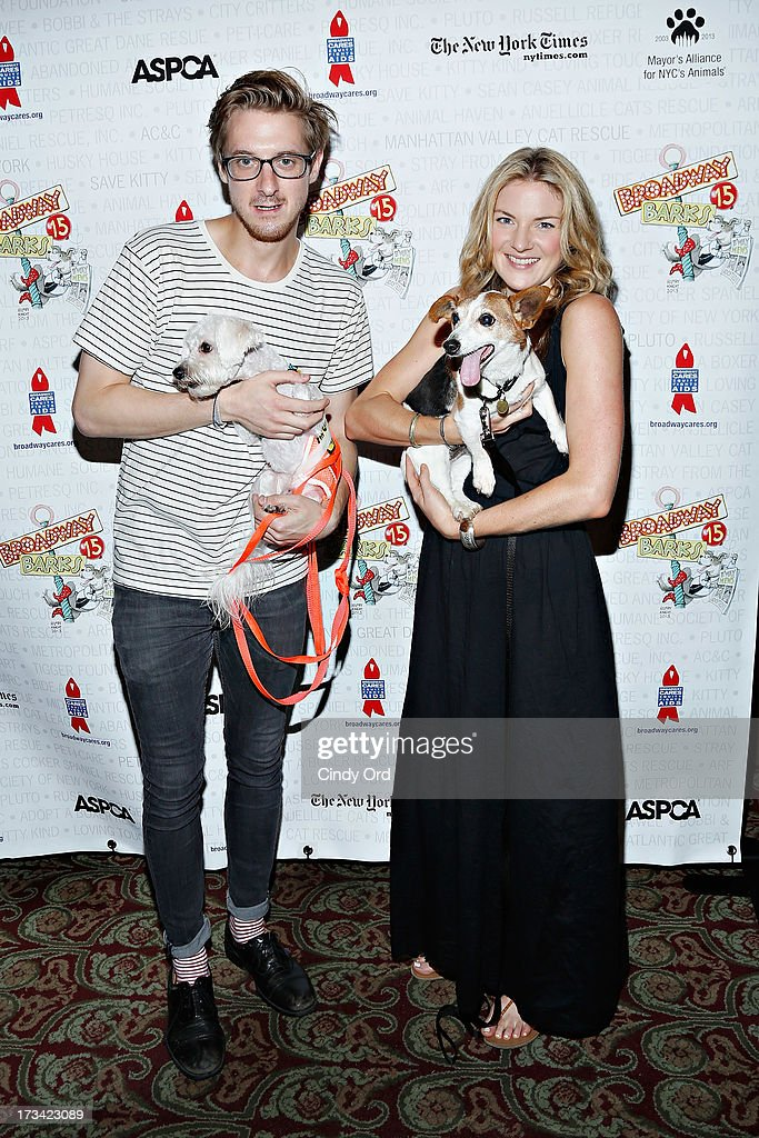 Actors Arthur Darvill and Joanna Christie attend the Broadway Barks 15th Animal Adoption Event at Shubert Alley on July 13, 2013 in New York City.