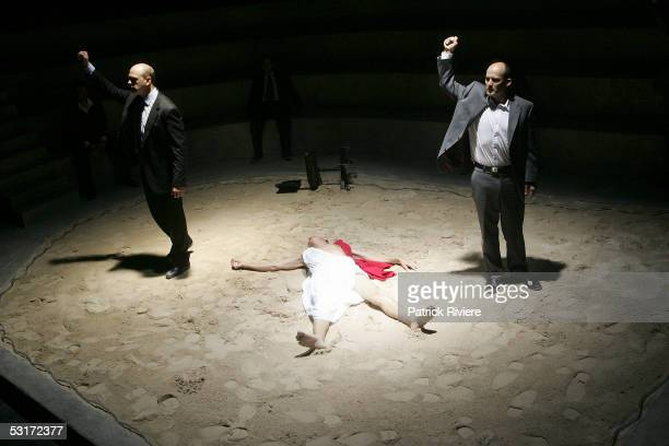 Actors Arthur Dignam and Glenn Hazeldine perform during a photo call for William Shakespeare's Julius Caesar at the Wharf1 Theatre on June 30 2005 in...