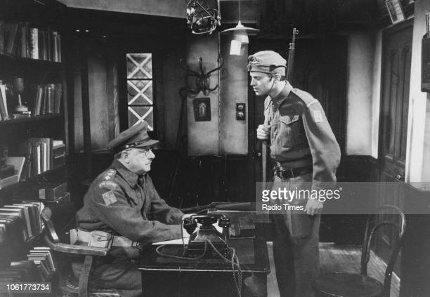 Actors Arthur Lowe and Ian Lavender in a scene from episode 'Getting the Bird' of the television sitcom 'Dad's Army' May 19th 1972