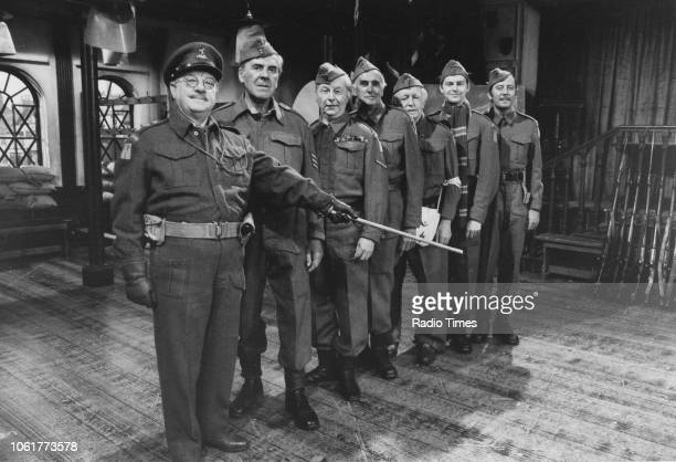 Actors Arthur Lowe John Le Mesurier Clive Dunn John Laurie Arnold Ridley Ian Lavender and James Beck in a scene from episode 'Battle of the Giants'...