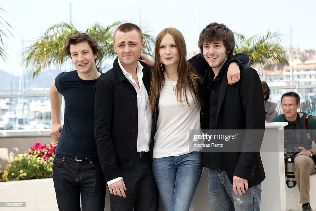 Actors Arthur Mazet, Jules Pelissier, actress Ana Girardot and actor Laurent Delbecque attend the 'Lights Out' Photocall at the Palais des Festivals during the 63rd Annual Cannes Film Festival on May 20, 2010 in Cannes, France.