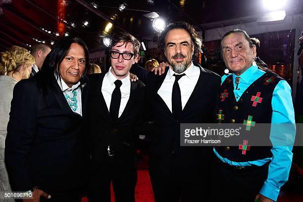 Actors Arthur Redcloud Joshua Burge filmmaker Alejandro Gonzalez Inarritu and actor Duane Howard attend the premiere of 20th Century Fox and Regency...