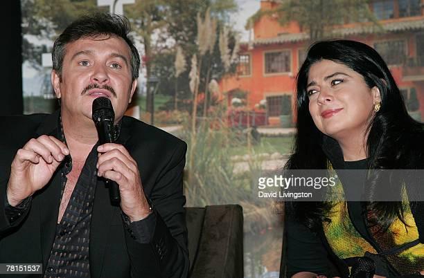 Actors Arturo Peniche and Victoria Ruffo attend the launch of Telemundo's 'Victoria' at the Beverly Wilshire Hotel November 29 2007 in Beverly Hills...