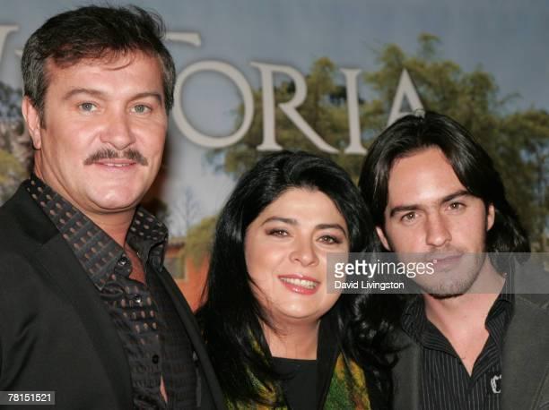 Actors Arturo Peniche Victoria Ruffo and Mauricio Ochmann attend the launch of Telemundo's 'Victoria' at the Beverly Wilshire Hotel November 29 2007...