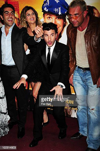 Actors Ary Abittan Isabelle Funaro actor/director Michael Youn and actor Jerome Le Banner attend the 'Fatal' Paris Premiere at Le Grand Rex on June...