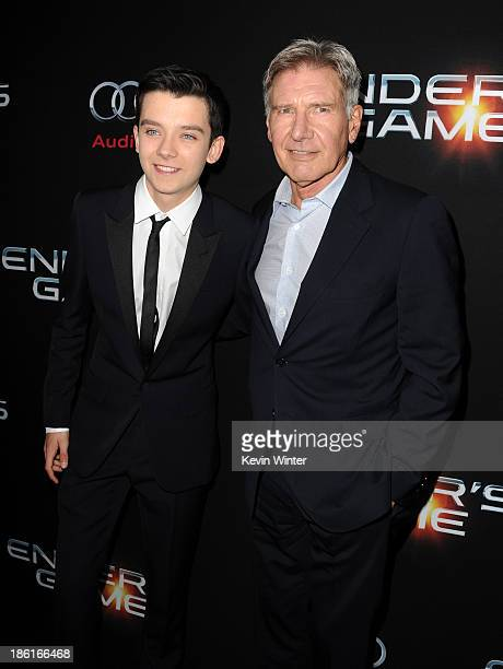 Actors Asa Butterfield and Harrison Ford attend the Premiere Of Summit Entertainment's 'Ender's Game' at TCL Chinese Theatre on October 28 2013 in...