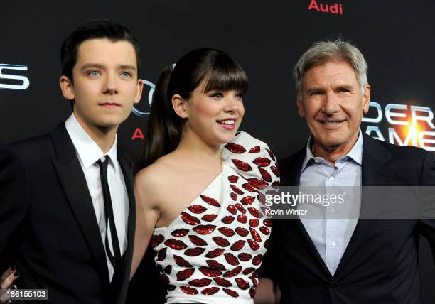 Actors Asa Butterfield Hailee Steinfeld and Harrison Ford attend the Premiere Of Summit Entertainment's Ender's Game at TCL Chinese Theatre on...