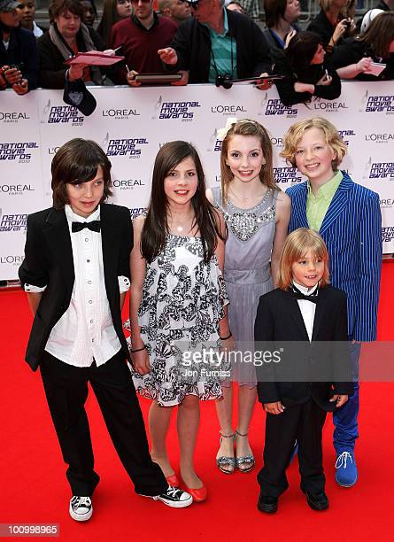 Actors Asa Butterfield Lil Woods Rosie TaylorRitson Oscar Steer and Eros Vlahos attend the National Movie Awards 2010 at the Royal Festival Hall on...