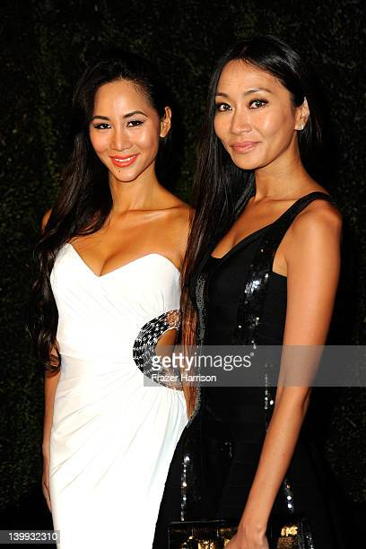 Actors Asami Ferguson and Kiko Matsuyama arrive at the Chanel And Charles Finch PreOscar Dinner at Madeo Restaurant on February 25 2012 in Los...