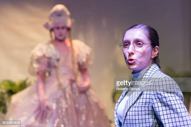 Actors Ash Flanders and Genevieve Giuffre of theatre company Sisters Grimm perform on stage 'Lilith The Jungle Girl' at Traverse Theatre during a...