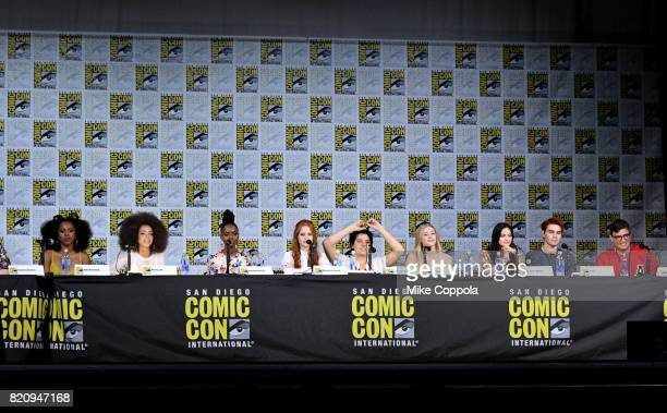 Actors Asha Bromfield Hayley Law Ashleigh Murray Madelaine Petsch Cole Sprouse Lili Reinhart KJ Apa and Camila Mendes and writer Roberto...